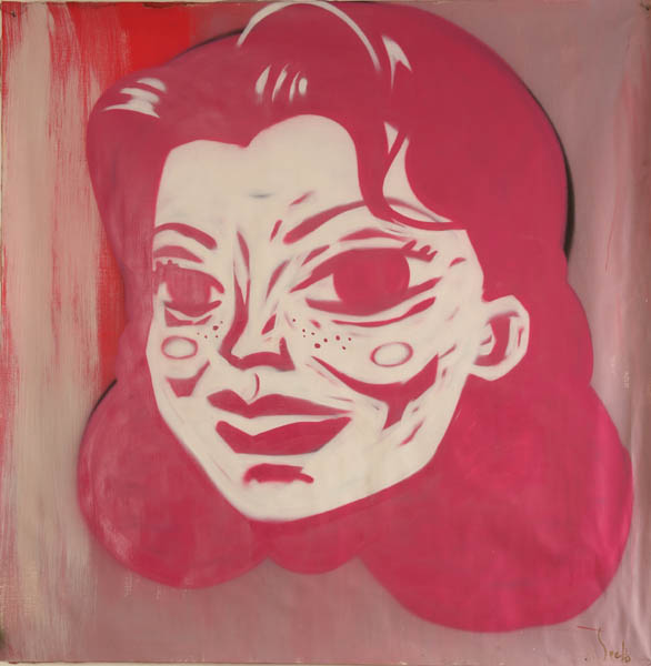 Speto  &nbsp -  <strong>Pink Woman</strong> (<strong style = 'color:#635a27'></strong>)<bR /> Spraypaint on Canvas,   47 x 47 inches