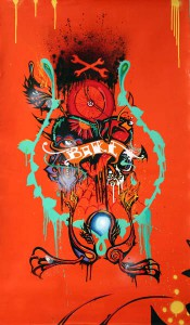 Boleta   -  <strong>Orange bike</strong> (<strong style = 'color:#635a27'></strong>)<bR /> Mixed Media on Canvas,   46 1/2 x 26 1/2 inches