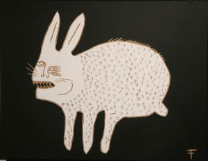 """Fefê   -  <strong>Bunny Monster</strong> (<strong style = 'color:#635a27'></strong>)<bR /> <font face=""""Arial"""" size=""""2"""">Mixed Media on Scratchboard</font>,   <font face=""""Arial"""" size=""""2"""">19 3/4 x 25 3/4 inches</font>,   <font face=""""Arial"""" size=""""2""""> </font>"""