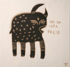 Fefê   -  <strong>Cow</strong> (<strong style = 'color:#635a27'></strong>)<bR /> Mixed Media on Scratchboard,   15 3/4 x 15 3/4 inches