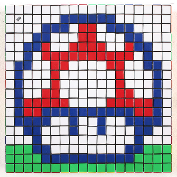 Invader  &nbsp -  <strong>Eat Me (4)</strong> (2010<strong style = 'color:#635a27'></strong>)<bR /> 36 Rubik's cubes,   12.75 x 12.75 x 2.25 inches  (32.39 x 32.39 x 5.72 cm)