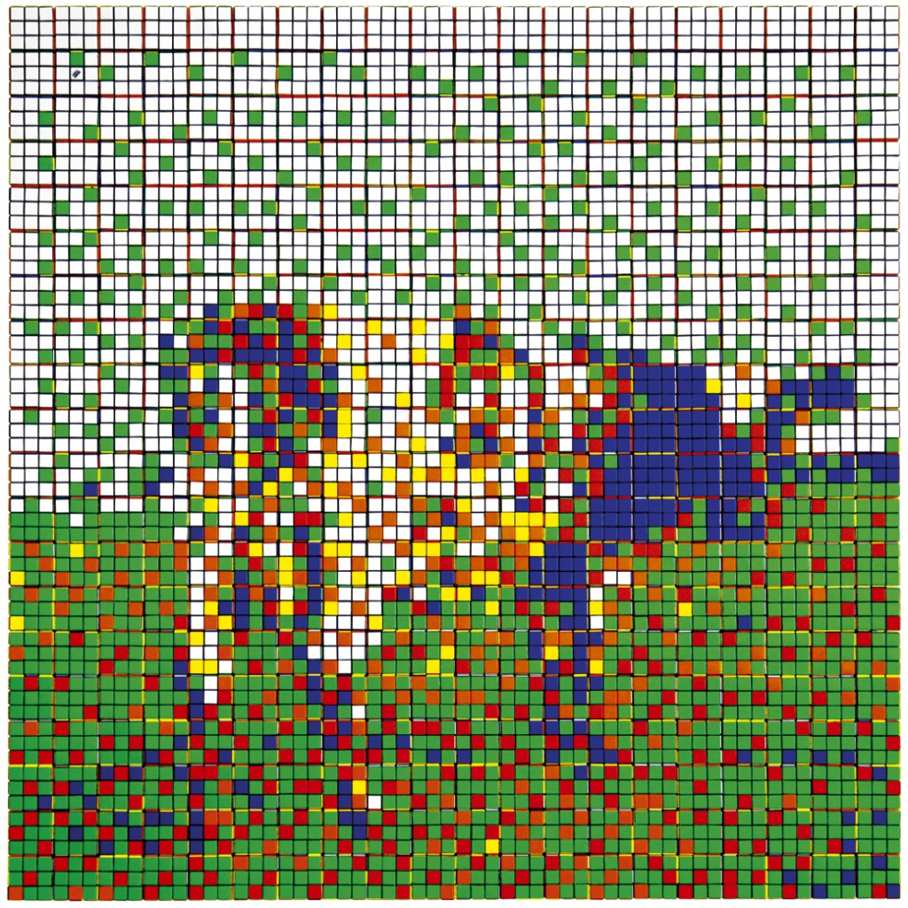 Invader  &nbsp -  <strong>Rubik Atom Heart Mother</strong> (2009<strong style = 'color:#635a27'></strong>)<bR /> 400 Rubik's cubes on Perspex panel,   44 x 44 x 2.375 inches   (111.8 x 111.8 x 6 cm)
