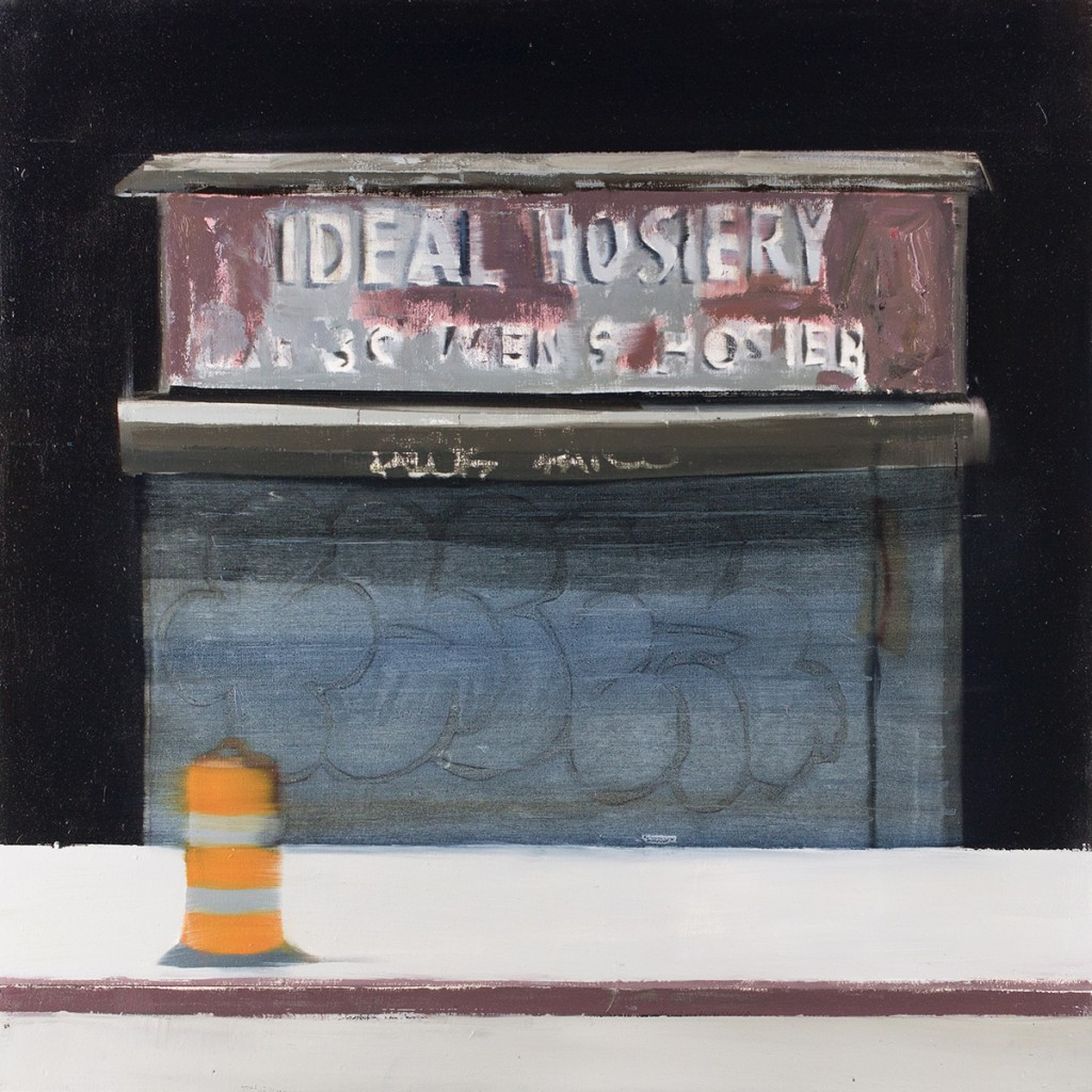 Brett Amory -  <strong>Ideal Hoisery (Waiting #251)</strong> (2015<strong style = 'color:#635a27'></strong>)<bR /> oil on canvas,   20 x 20 inches  (50.8 x 50.8 cm)
