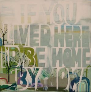 Seonna  Hong -  <strong>If You Lived Here</strong> (2015<strong style = 'color:#635a27'></strong>)<bR /> acrylic on canvas,   12 x 12 inches  (30.48 x 30.48 cm)