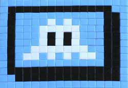 Invader  &nbsp -  <strong>Alias BBO_15 (Bilbao)</strong> (2011<strong style = 'color:#635a27'></strong>)<bR /> ceramic tiles on panel,   10.25 x 12.625 inches  (26 x 32 cm)