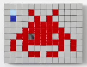 Invader   -  <strong>Alias BRC_04 (Barcelona)</strong> (2011<strong style = 'color:#635a27'></strong>)<bR /> ceramic tiles on panel,   7.875 x 10.25 inches  (20 x 26 cm)