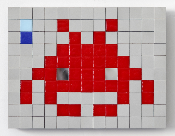 Invader  &nbsp -  <strong>Alias BRC_04 (Barcelona)</strong> (2011<strong style = 'color:#635a27'></strong>)<bR /> ceramic tiles on panel,   7.875 x 10.25 inches  (20 x 26 cm)