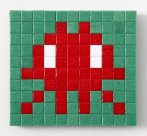 Invader   -  <strong>Alias CAZ_14 (Cote D'Azur)</strong> (2011<strong style = 'color:#635a27'></strong>)<bR /> ceramic tiles on panel,   7.875 x 10.25 inches  (20 x 26 cm)