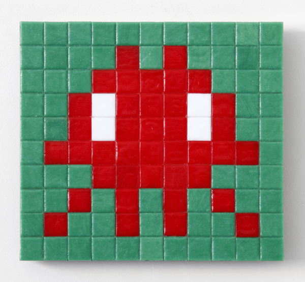 Invader  &nbsp -  <strong>Alias CAZ_14 (Cote D'Azur)</strong> (2011<strong style = 'color:#635a27'></strong>)<bR /> ceramic tiles on panel,   7.875 x 10.25 inches  (20 x 26 cm)