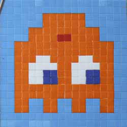Invader   -  <strong>Alias KAT_10 (Katmandu)</strong> (2011<strong style = 'color:#635a27'></strong>)<bR /> ceramic tiles on panel,   14.125 x 14.125 inches  (36 x 36 cm)