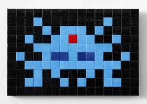 Invader    -  <strong>Alias KAT_21 (Katmandu)</strong> (2011<strong style = 'color:#635a27'></strong>)<bR /> ceramic tiles on panel,   7.875 x 11.75 inches  (20 x 30 cm)
