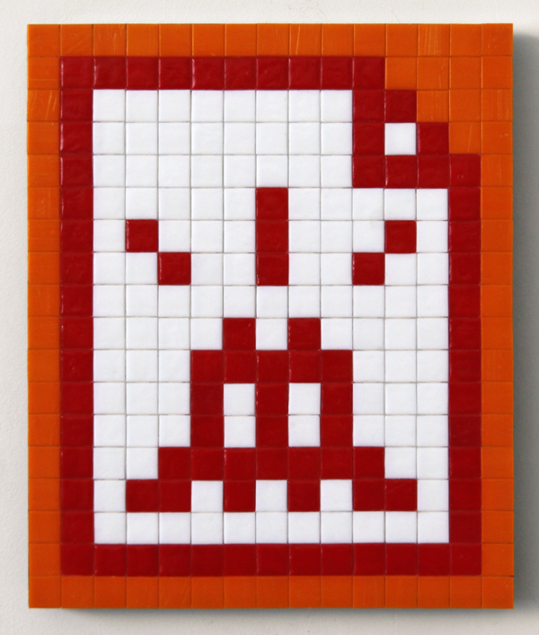 Invader  &nbsp -  <strong>Alias LA_138 (Los Angeles)</strong> (2011<strong style = 'color:#635a27'></strong>)<bR /> ceramic tiles on panel,   14.125 x 11.75 inches  (36 x 30 cm)