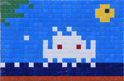 Invader  &nbsp -  <strong>Alias MIA_13 (Miami)</strong> (2011<strong style = 'color:#635a27'></strong>)<bR /> ceramic tiles on panel,   14.125 x 20.5 inches  (36 x 52 cm)