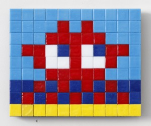 Invader    -  <strong>Alias MIA_21 (Miami)</strong> (2011<strong style = 'color:#635a27'></strong>)<bR /> ceramic tiles on panel,   7.125 x 8.625 inches  (18 x 22 cm)