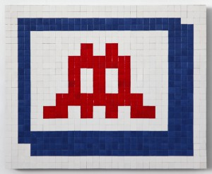 Invader   -  <strong>Alias NY_105 (New York)</strong> (2011<strong style = 'color:#635a27'></strong>)<bR /> ceramic tiles on panel,   20.125 x 24.75 inches  (51 x 63 cm)