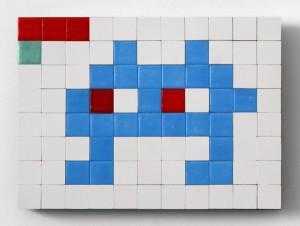 Invader   -  <strong>Alias NY_119 (New York)</strong> (2011<strong style = 'color:#635a27'></strong>)<bR /> ceramic tiles on panel,   6.25 x 8.625 inches  (16 x 22 cm)