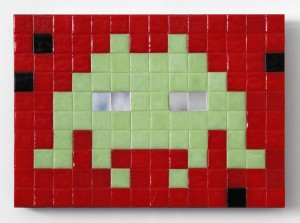 Invader   -  <strong>Alias NY_19 (New York)</strong> (2011<strong style = 'color:#635a27'></strong>)<bR /> ceramic tiles on panel,   7.875 x 11 inches  (20 x 28 cm)