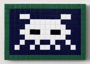 Invader  &nbsp -  <strong>Alias PA_917 (Paris)</strong> (2011<strong style = 'color:#635a27'></strong>)<bR /> ceramic tiles on panel,   10.25 x 15 inches  (26 x 38 cm)