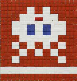 Invader  &nbsp -  <strong>Alias VRN_11 (Varanasi, India)</strong> (2011<strong style = 'color:#635a27'></strong>)<bR /> ceramic tiles on panel,   15.75 x 18.125 inches  (40 x 46 cm)