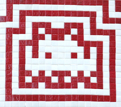 Invader  &nbsp -  <strong>Alias WN_8 (Vienna)</strong> (2011<strong style = 'color:#635a27'></strong>)<bR /> ceramic tiles on panel,   14.125 x 15 inches  (36 x 38 cm)