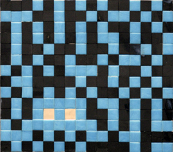 Invader    -  <strong>Alias NCL_17 (Newcastle)</strong> (2011<strong style = 'color:#635a27'></strong>)<bR /> ceramic tiles on panel,   11 x 12.625 inches  (28 x 32 cm)