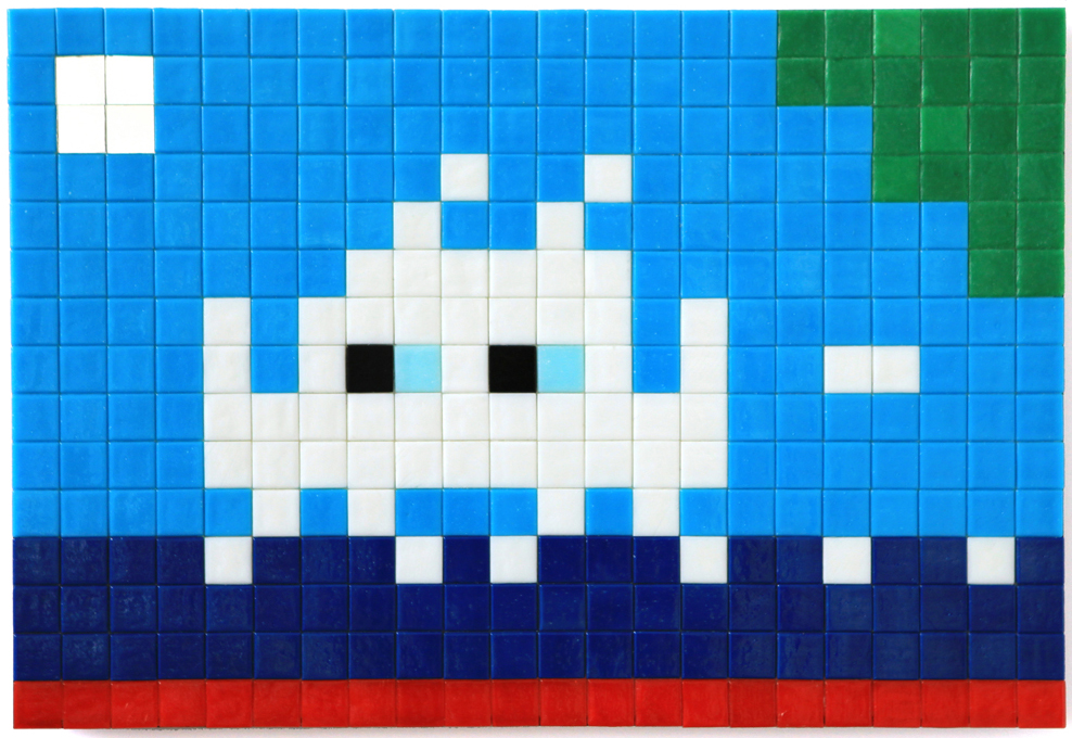 Invader  &nbsp -  <strong>Alias MIA_05</strong> (2012<strong style = 'color:#635a27'></strong>)<bR /> ceramic tiles on panel,   11.75 x 17.375 inches  (30 x 44 cm)