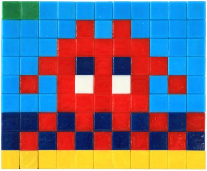 Invader    -  <strong>Alias MIA_06</strong> (2012<strong style = 'color:#635a27'></strong>)<bR /> ceramic tiles on panel,   7.125 x 8.625 inches  (18 x 22 cm)