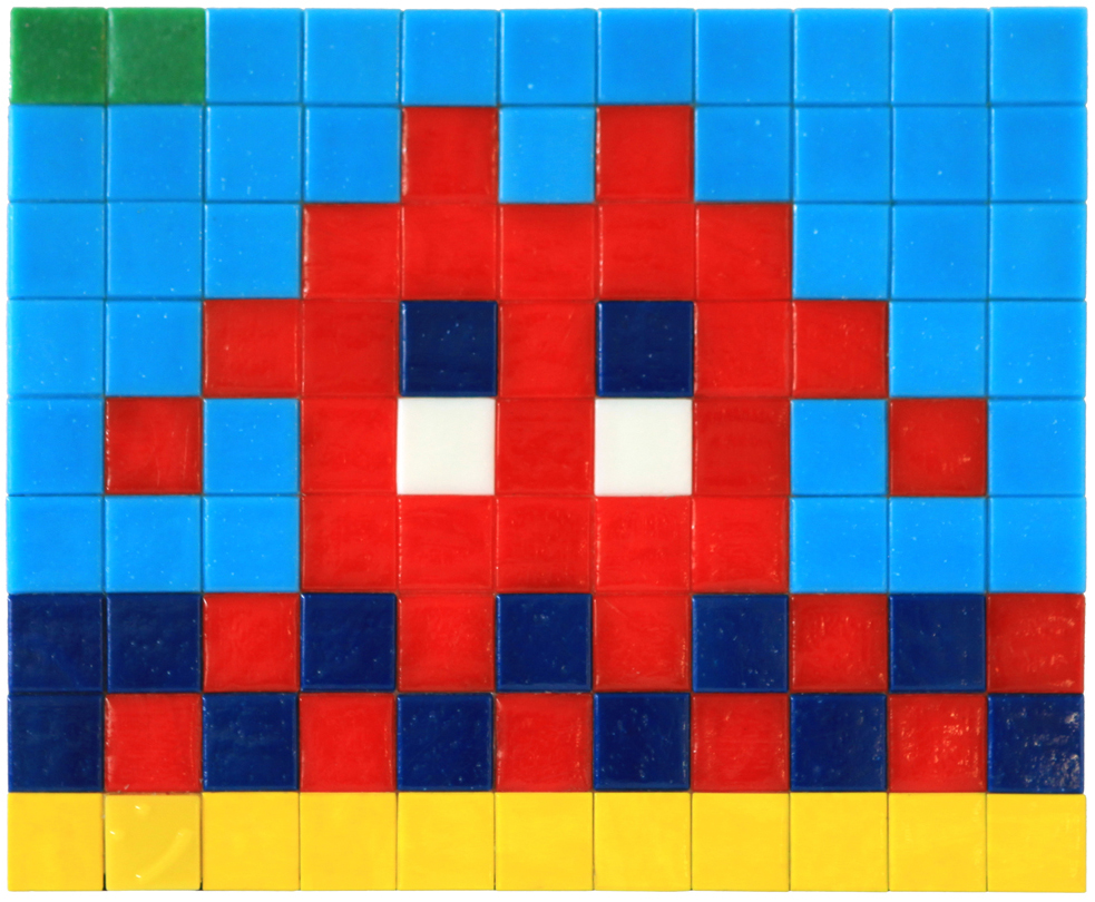 Invader  &nbsp -  <strong>Alias MIA_06</strong> (2012<strong style = 'color:#635a27'></strong>)<bR /> ceramic tiles on panel,   7.125 x 8.625 inches  (18 x 22 cm)