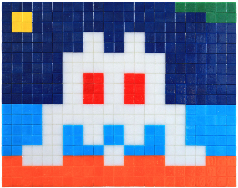 Invader  &nbsp -  <strong>Alias MIA_07</strong> (2012<strong style = 'color:#635a27'></strong>)<bR /> ceramic tiles on panel,   14.125 x 17.5 inches  (36 x 44.5 cm)