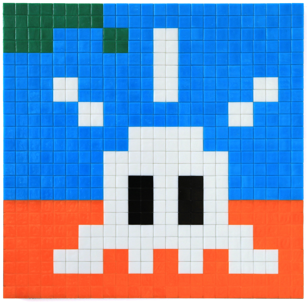 Invader  &nbsp -  <strong>Alias MIA_12</strong> (2012<strong style = 'color:#635a27'></strong>)<bR /> ceramic tiles on panel,   18.875 x 18.875 inches  (48 x 48 cm)