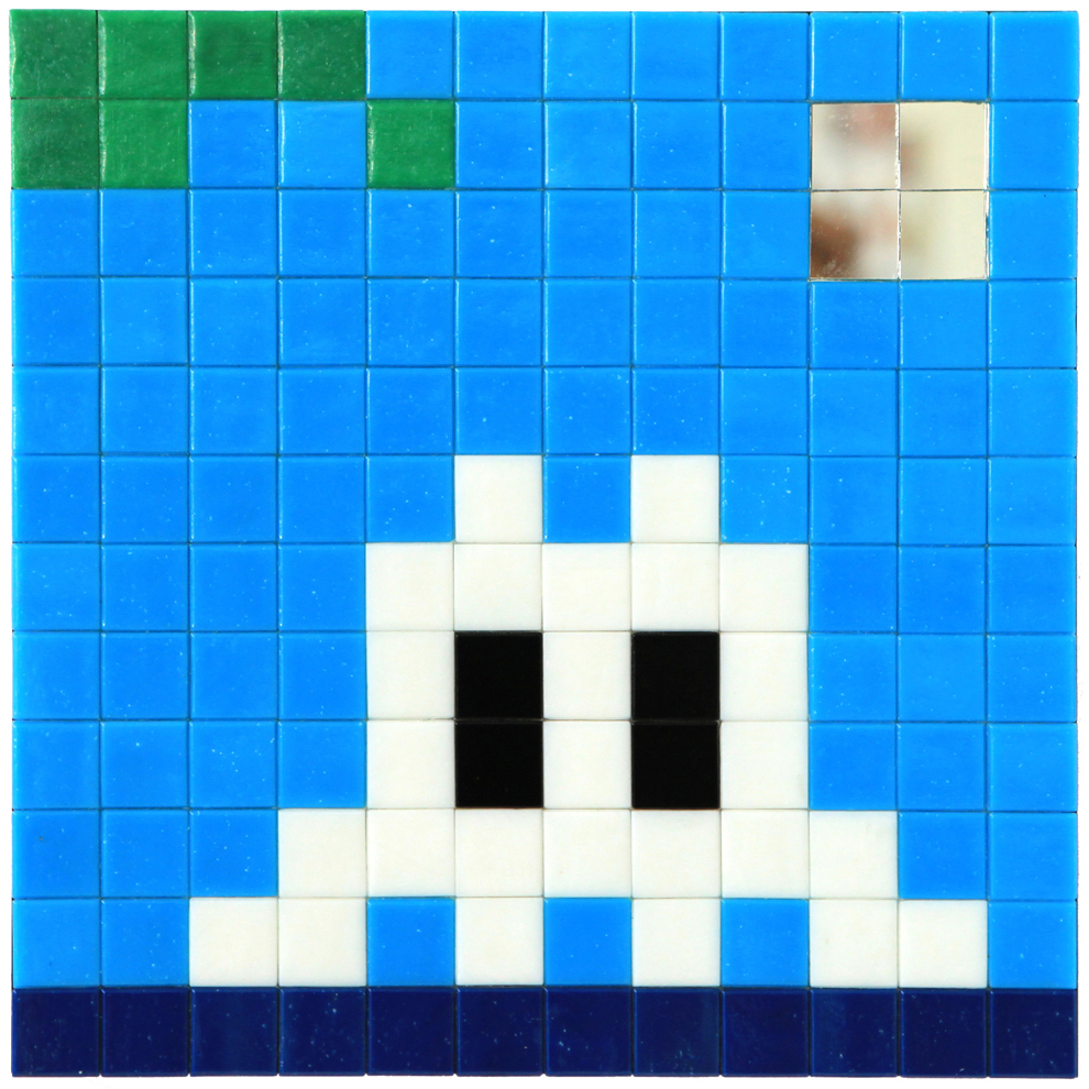 Invader  &nbsp -  <strong>Alias MIA_19</strong> (2012<strong style = 'color:#635a27'></strong>)<bR /> ceramic tiles on panel,   9.5 x 9.5 inches  (24 x 24 cm)