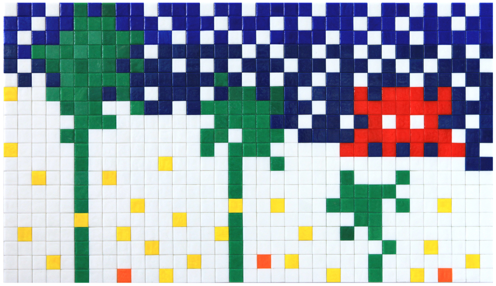 Invader  &nbsp -  <strong>Alias MIA_24</strong> (2012<strong style = 'color:#635a27'></strong>)<bR /> ceramic tiles on panel,   15.75 x 27.5 inches  (40 x 70 cm)