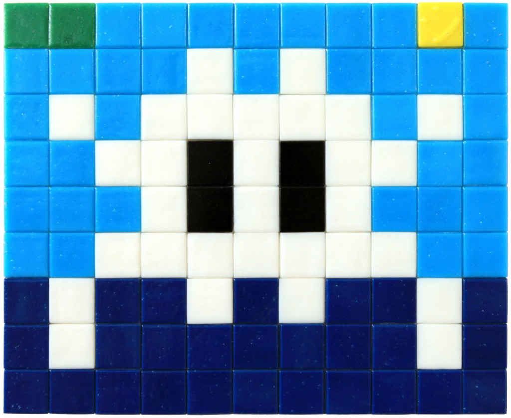 Invader  &nbsp -  <strong>Alias MIA_26</strong> (2012<strong style = 'color:#635a27'></strong>)<bR /> ceramic tiles on panel,   7.125 x 8.625 inches  (18 x 22 cm)