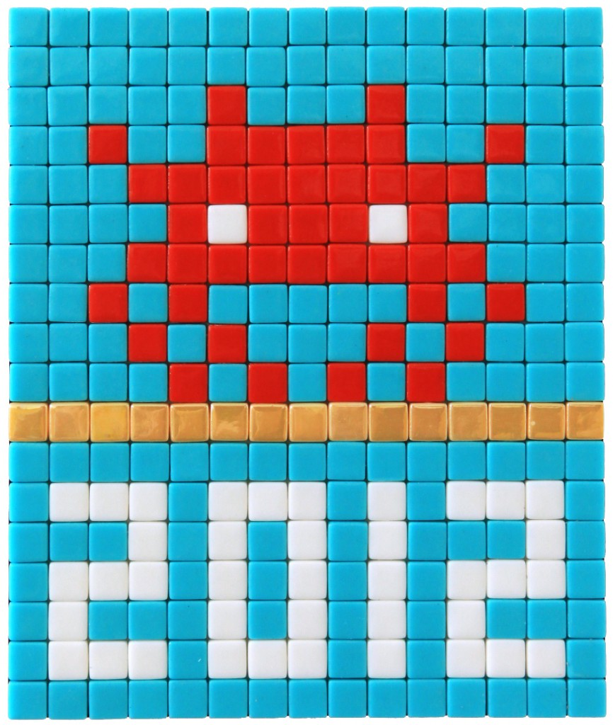 Invader  &nbsp -  <strong>Alias MIA_29</strong> (2012<strong style = 'color:#635a27'></strong>)<bR /> ceramic tiles on panel,   7.125 x 5.875 inches  (18 x 15 cm)