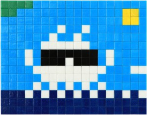 Invader    -  <strong>Alias MIA_31</strong> (2012<strong style = 'color:#635a27'></strong>)<bR /> ceramic tiles on panel,   11 x 14.125 inches  (28 x 36 cm)