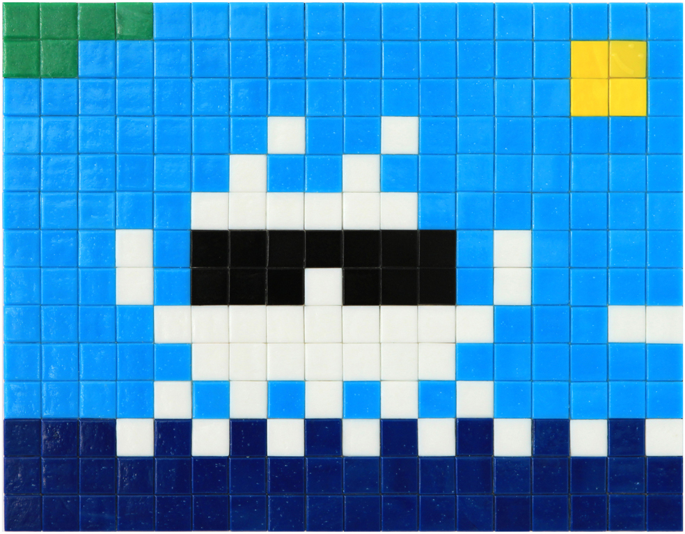 Invader  &nbsp -  <strong>Alias MIA_31</strong> (2012<strong style = 'color:#635a27'></strong>)<bR /> ceramic tiles on panel,   11 x 14.125 inches  (28 x 36 cm)