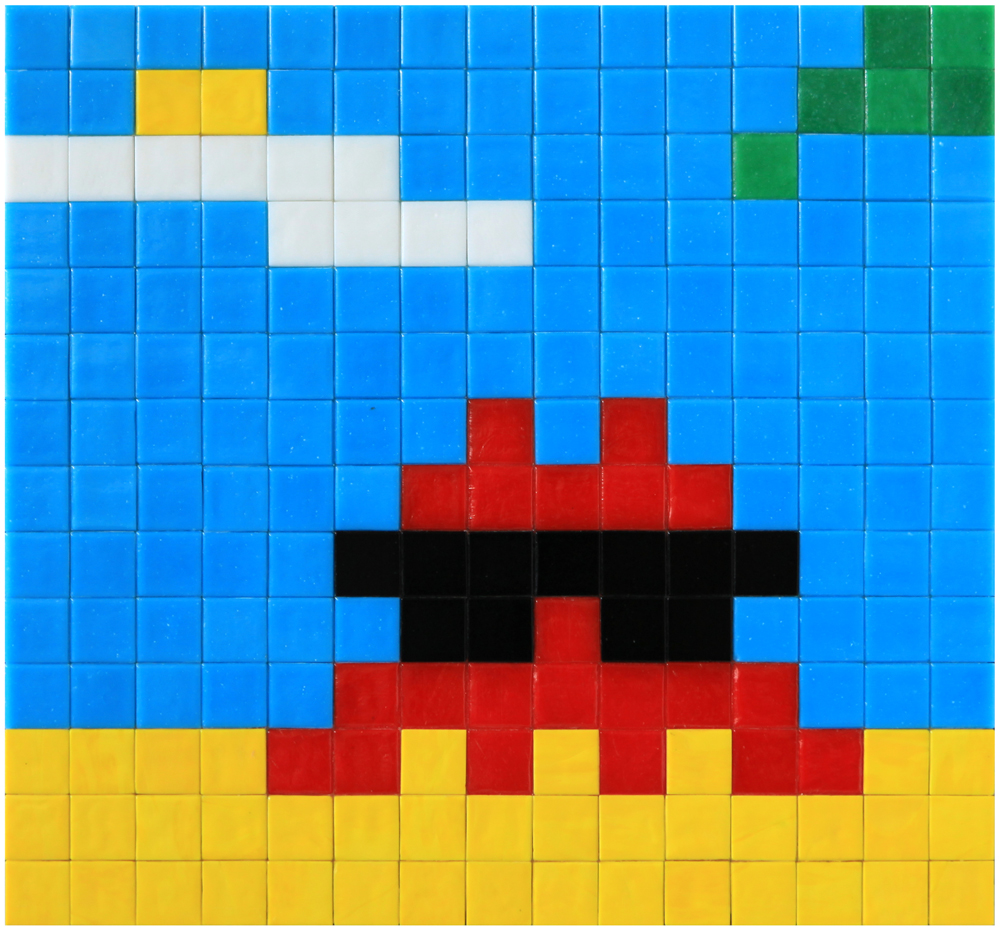 Invader  &nbsp -  <strong>Alias MIA_32</strong> (2012<strong style = 'color:#635a27'></strong>)<bR /> ceramic tiles on panel,   11.75 x 11 inches  (30 x 28 cm)