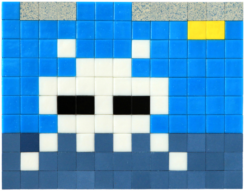 Invader  &nbsp -  <strong>Alias MIA_34</strong> (2012<strong style = 'color:#635a27'></strong>)<bR /> ceramic tiles on panel,   7.875 x 10.25 inches  (20 x 26 cm)
