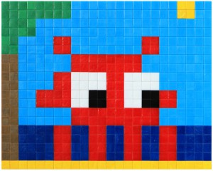 Invader  &nbsp -  <strong>Alias MIA_38</strong> (2012<strong style = 'color:#635a27'></strong>)<bR /> ceramic tiles on panel,   15 x 18.875 inches  (38 x 48 cm)