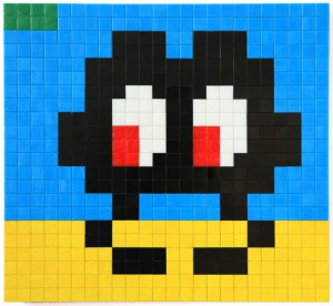 Invader    -  <strong>Alias MIA_39</strong> (2012<strong style = 'color:#635a27'></strong>)<bR /> ceramic tiles on panel,   17.375 x 18.875 inches  (44 x 48 cm)