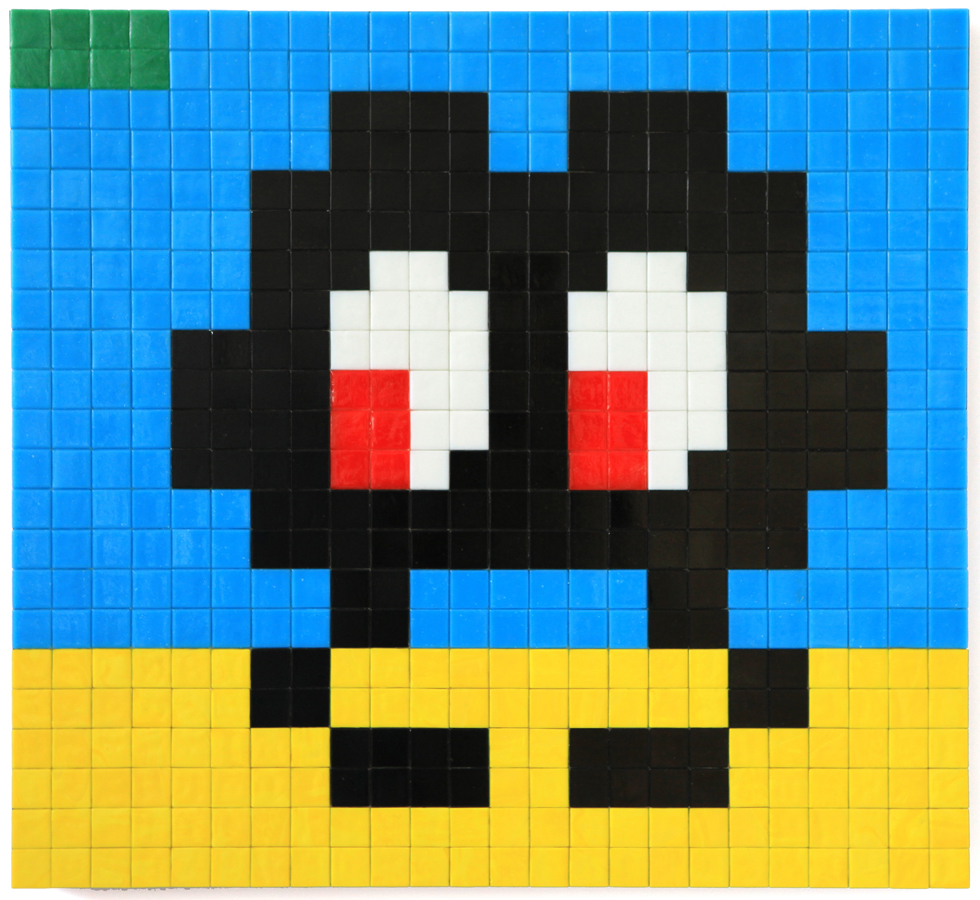 Invader  &nbsp -  <strong>Alias MIA_39</strong> (2012<strong style = 'color:#635a27'></strong>)<bR /> ceramic tiles on panel,   17.375 x 18.875 inches  (44 x 48 cm)