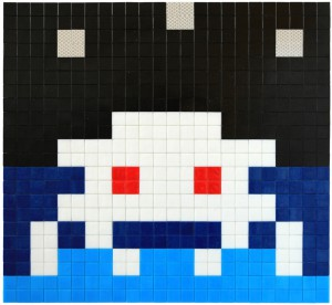 Invader    -  <strong>Alias MIA_40</strong> (2012<strong style = 'color:#635a27'></strong>)<bR /> ceramic tiles on panel,   17.375 x 18.875 inches  (44 x 48 cm)