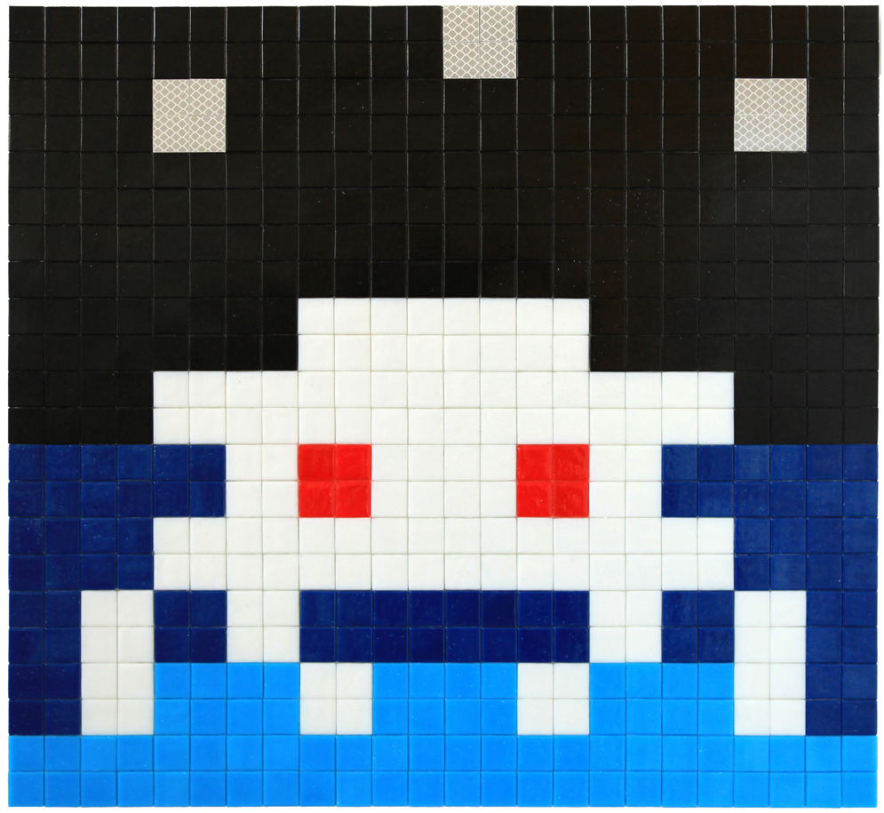 Invader  &nbsp -  <strong>Alias MIA_40</strong> (2012<strong style = 'color:#635a27'></strong>)<bR /> ceramic tiles on panel,   17.375 x 18.875 inches  (44 x 48 cm)