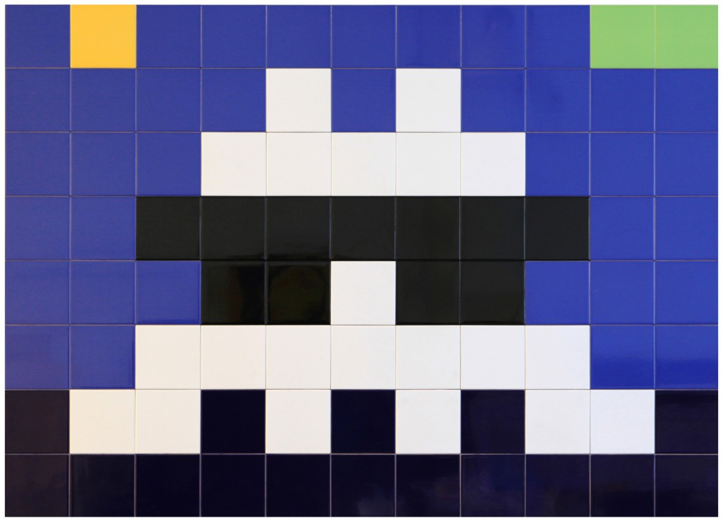 Invader  &nbsp -  <strong>Alias MIA_45</strong> (2012<strong style = 'color:#635a27'></strong>)<bR /> ceramic tiles on panel,   47.5 x 65 inches  (120.5 x 165 cm)