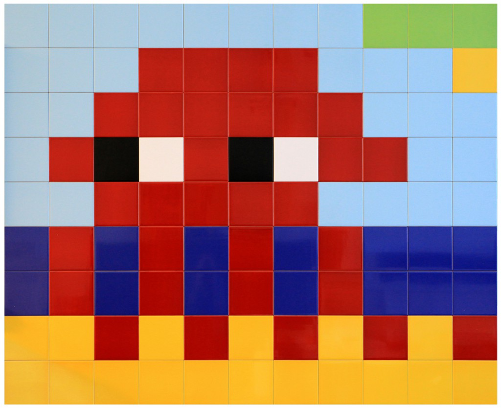 Invader  &nbsp -  <strong>Alias MIA_46</strong> (2012<strong style = 'color:#635a27'></strong>)<bR /> ceramic tiles on panel,   53.125 x 65 inches  (135 x 165 cm)