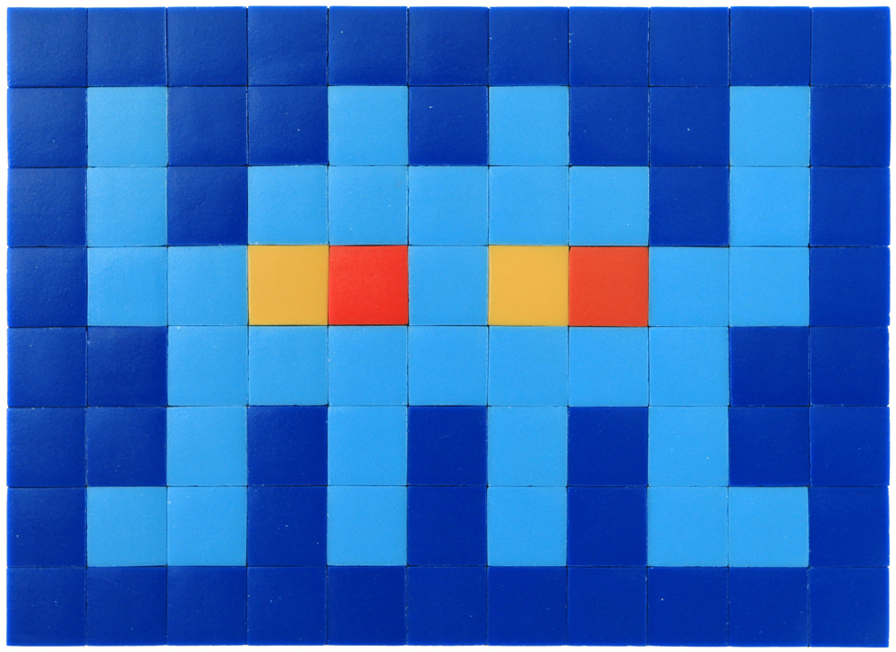 Invader  &nbsp -  <strong>Alias MIA_47</strong> (2012<strong style = 'color:#635a27'></strong>)<bR /> ceramic tiles on panel,   12.25 x 16.75 inches  (31 x 42.5 cm)