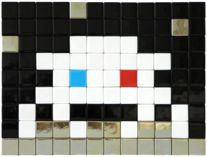 Invader    -  <strong>Alias MIA_53</strong> (2012<strong style = 'color:#635a27'></strong>)<bR /> ceramic tiles on panel,   8.5 x 11.25 inches  (21.5 x 28.5 cm)