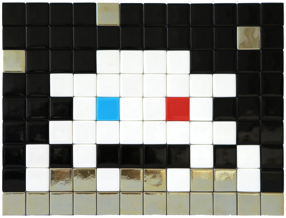 Invader  &nbsp -  <strong>Alias MIA_53</strong> (2012<strong style = 'color:#635a27'></strong>)<bR /> ceramic tiles on panel,   8.5 x 11.25 inches  (21.5 x 28.5 cm)