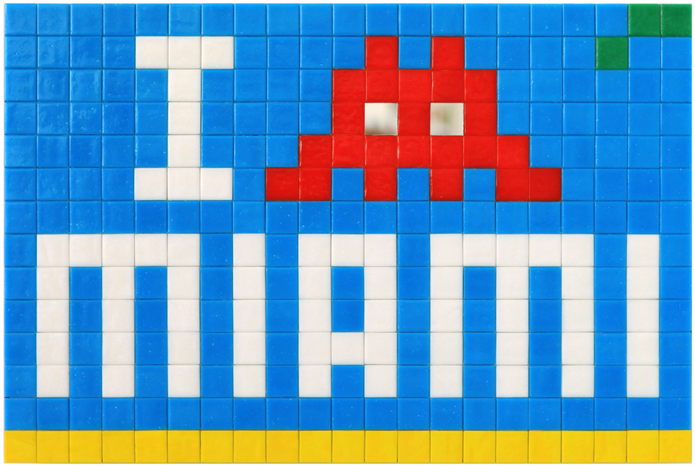 Invader  &nbsp -  <strong>Alias MIA_57</strong> (2012<strong style = 'color:#635a27'></strong>)<bR /> ceramic tiles on panel,   11 x 16.5 inches  (28 x 42 cm)