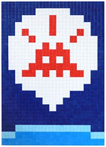Invader    -  <strong>Alias MIA_64</strong> (2012<strong style = 'color:#635a27'></strong>)<bR /> ceramic tiles on panel,   23.625 x 32.875 inches  (60 x 83.5 cm)